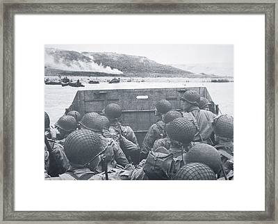 American Troops In Landing Craft Head For Omaha Beach, 6th June 1944 Framed Print by American School