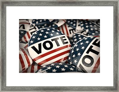 American Vote Button Framed Print by Carsten Reisinger