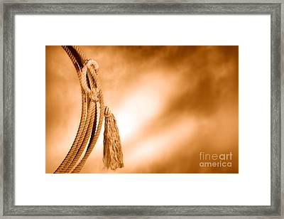 American West Rodeo Cowboy Lariat - Sepia Framed Print by Olivier Le Queinec