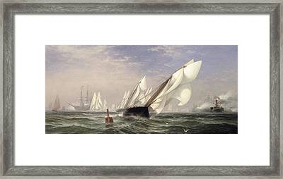 American Yacht Sappho Winning The Race With The English Yacht Livonia For The Americas Cup Framed Print by Edward Moran
