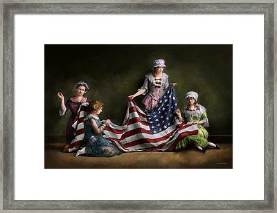 Americana - Flag - Birth Of The American Flag 1915 Framed Print by Mike Savad