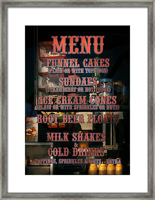 Americana - Food - Menu  Framed Print by Mike Savad