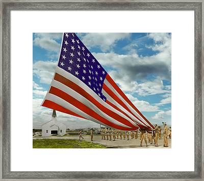 Americana - Fort Hood Texas - Unfolding The Flag 1944 Framed Print by Mike Savad
