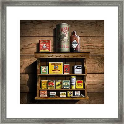 Americana Kitchen Art Decor - Vintage Spice Cans Tins 2 - Nostalgic Spice Rack - Square Format Framed Print by Walt Curlee