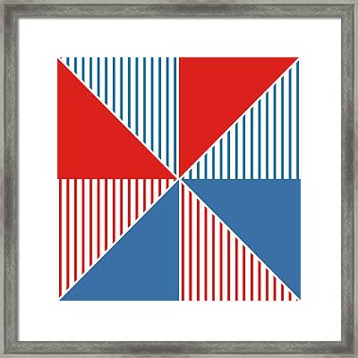 Americana Pinwheel Framed Print by Linda Woods