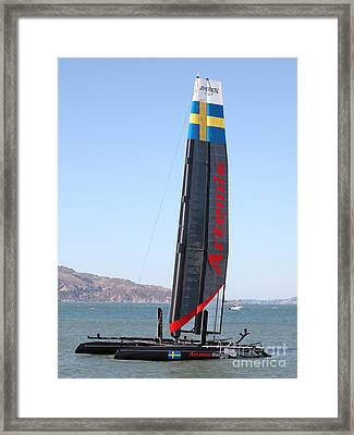 America's Cup In San Francisco - Sweden Artemis Racing Red Sailboat - 5d18249 Framed Print by Wingsdomain Art and Photography