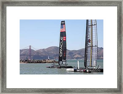 America's Cup Racing Sailboats In The San Francisco Bay - 5d18242 Framed Print by Wingsdomain Art and Photography