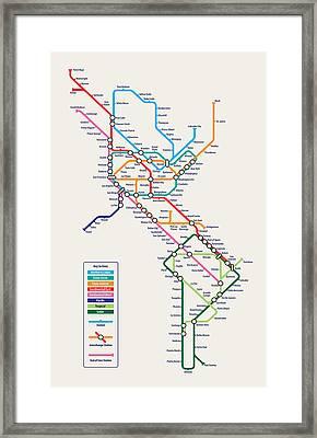 Americas Metro Map Framed Print by Michael Tompsett