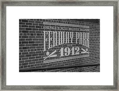 America's Most Beloved Ballpark - Fenway Bw Framed Print by Susan Candelario