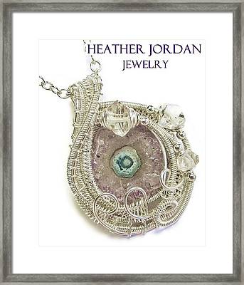 Amethyst Stalactite Slice Druzy Wire-wrapped Pendant In Sterling Silver With Herkimer Diamonds Framed Print by Heather Jordan