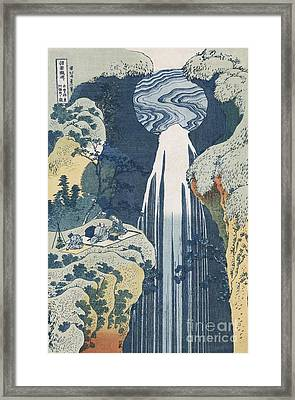 Amida Waterfall Framed Print by Hokusai