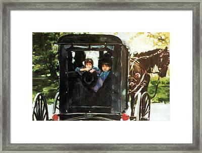 Amish Buggy Framed Print by Linda Crockett
