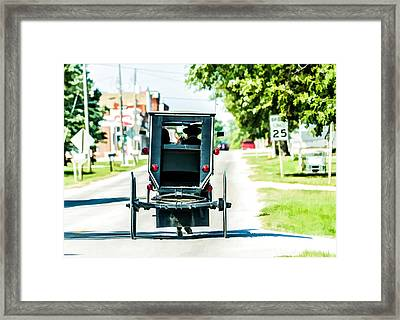 Amish Family Going To Town Framed Print by Henry Fitzthum