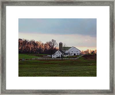 Amish Farm At Dusk Framed Print by Gordon Beck