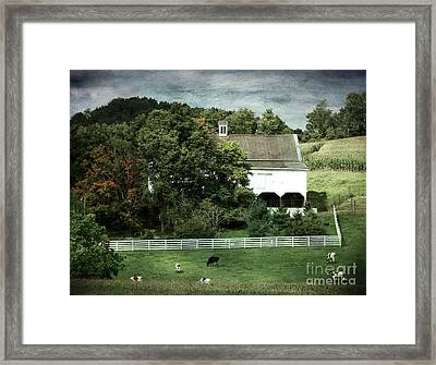 Amish Farm In The Fall With Textures Framed Print by Gena Weiser