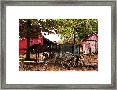Amish Farm Wagon Framed Print by Terril Heilman