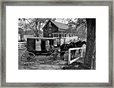 Amish Horse And Buggy In Black And White Framed Print by Frozen in Time Fine Art Photography
