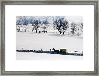 Amish Horse And Buggy In Snowy Landscape Framed Print by Jeremy Woodhouse