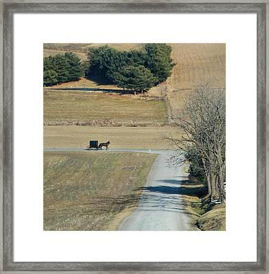 Amish Horse And Buggy On A Country Road Framed Print by Dan Sproul