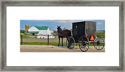 Amish Horse Buggy And Farm Framed Print by Frozen in Time Fine Art Photography