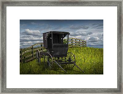 Amish Horse Buggy Framed Print by Randall Nyhof
