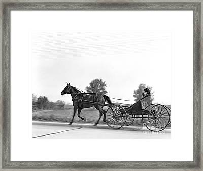 Amish In Horse-drawn Buggy, C.1930s Framed Print by H. Armstrong Roberts/ClassicStock