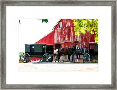 Amish Red Barn Framed Print by Henry Fitzthum