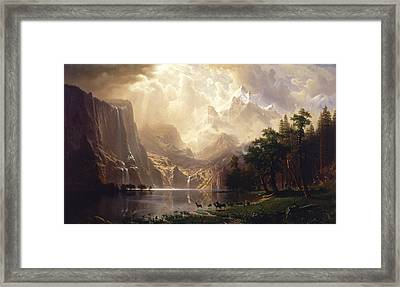 Among The Sierra Nevada Framed Print by Albert Bierstadt