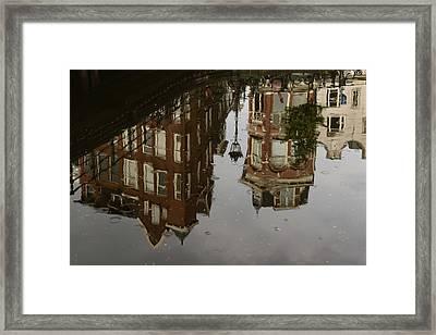 Amsterdam - Moody Canal Reflection In The Rain Framed Print by Georgia Mizuleva