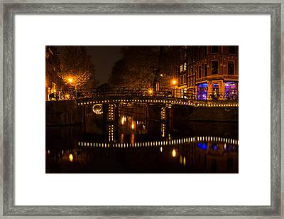 Amsterdam Night In Yellow And Purple Framed Print by Georgia Mizuleva