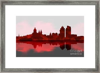 Amsterdam Skyline - Night Red Framed Print by Prar Kulasekara