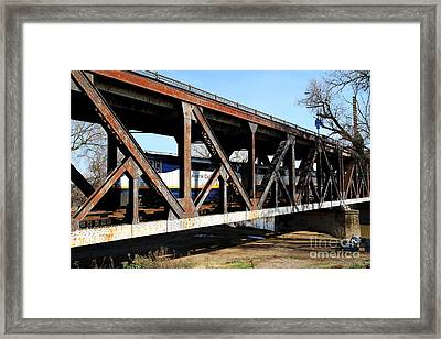 Amtrak California Crossing The Old Sacramento Southern Pacific Train Bridge . 7d11410 Framed Print by Wingsdomain Art and Photography