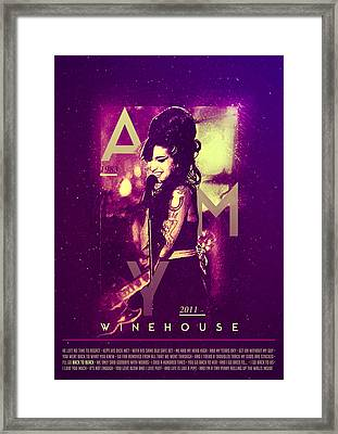 Amy Winehouse Back To Black Lyric Framed Print by Bekare Creative
