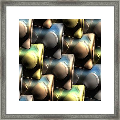 An Abstract Illustration Depicting Metal Tablets, Textured With Infinity Symbol And Pattern Framed Print by Ljubomir Arsic