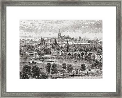 An Aerial View Of Prague, Czech Framed Print by Vintage Design Pics