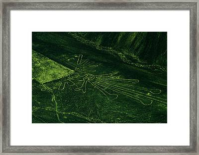 An Aerial View Of The Nazca Lines. They Framed Print by Bates Littlehales