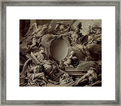 An Allegory Of Minerva Fame History And Faith Overcoming Ignorance And Time Framed Print by Francois Boucher