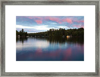 An Amazing Sunset On Old Forge Pond Framed Print by David Patterson