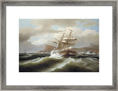 An American Ship In Distress Framed Print by Thomas Birch