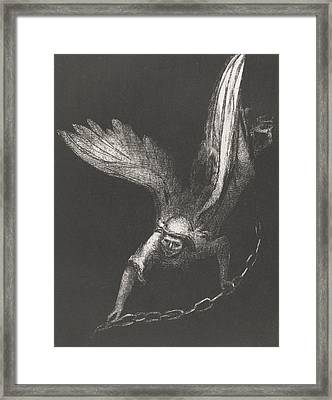 An Angel With A Chain In His Hands Framed Print by Odilon Redon