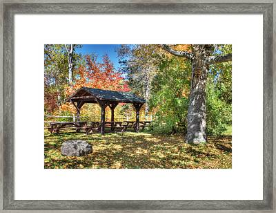 An Autumn Picnic In Maine Framed Print by Shelley Neff