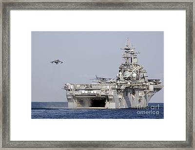 An Av-8b Harrier Prepares To Land Framed Print by Stocktrek Images