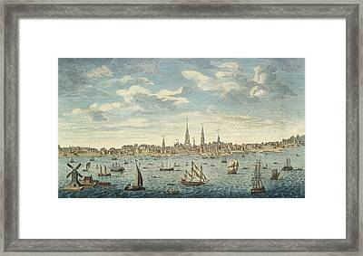 An East Prospective View Of The City Of Philadelphia Framed Print by George Heap