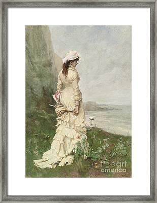 An Elegant Lady By The Sea Framed Print by Ferdinand Heilbuth