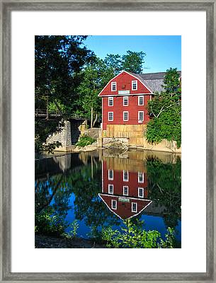 An Evening On The Waters Of War Eagle Mill Framed Print by Gregory Ballos