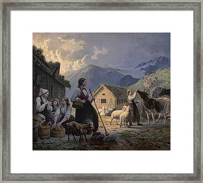 An Idealized Depiction Of Girl Cow Framed Print by Knud Bergslien