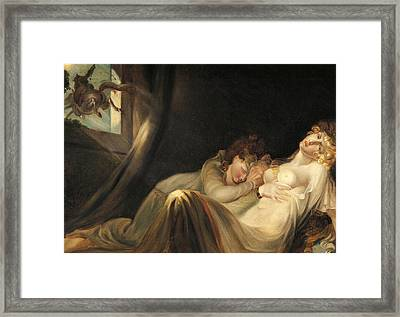 An Incubus Leaving Two Sleeping Girls Framed Print by Henry Fuseli
