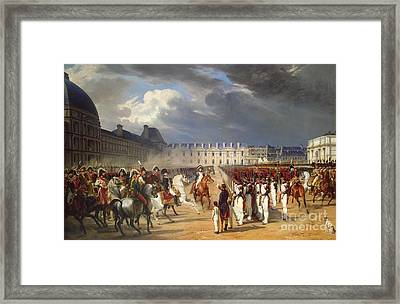 An Invalid Submitting A Petition To Napoleon Framed Print by Horace Vernet