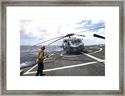 an MH-60R Sea Hawk helicopter Framed Print by Celestial Images