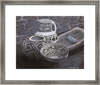 Anasazi Black On White Framed Print by Jerry McElroy